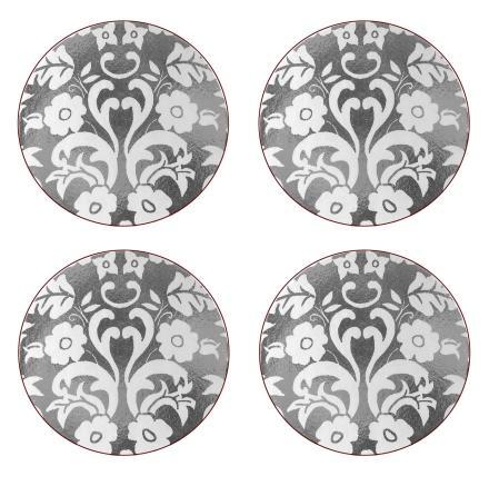 Damask Silver Runda Glasunderlägg 4-pack