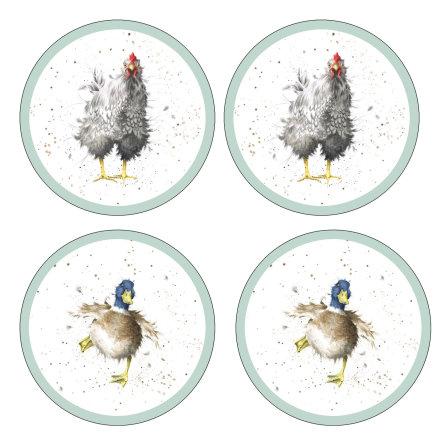 Wrendale Designs Glasunderlägg - Farmyard Feathers 4-pack