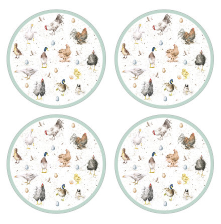 "Wrendale Designs ""Farmyard Feathers"" Runda bordsunderlägg 4-pack"