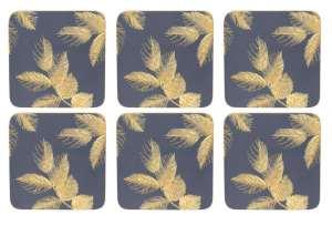 Sara Miller Etched Leaves - Navy Glasunderlägg 6-pack