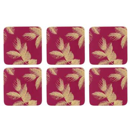 Sara Miller Etched Leaves Glasunderlägg 6-pack - Pink