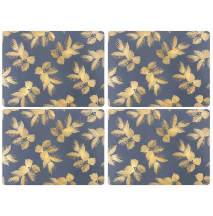 Sara Miller Etched Leaves - Navy Bordsunderlägg 4-pack
