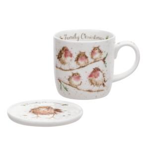 Wrendale Mug And Coaster Set - Family Christmas