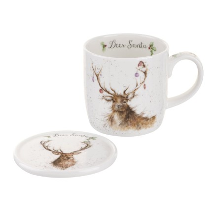 Wrendale Mug And Coaster Set - Deer Santa