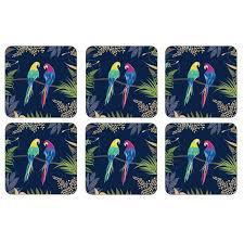 Sara Miller Parrot Glasunderlägg 6-pack