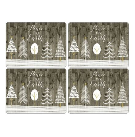 Wooden White Christmas Bordsunderlägg 4-pack