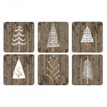 Wooden White Christmas Glasunderlägg 6-pack