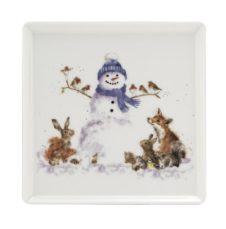 Wrendale Design Christmas Tallrik (snowman) 18 x 18cm