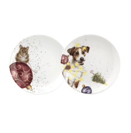 Wrendale Design Christmas Coupe Tallrik 16,5cm (mouse & dog) 2-pack