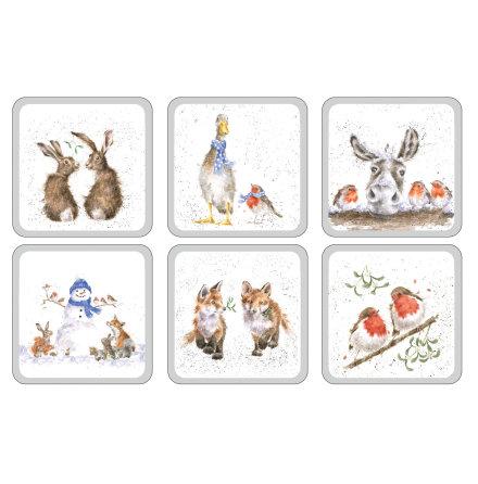 Wrendale Christmas Glasunderlägg 6-pack