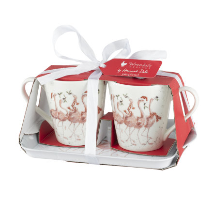 Wrendale Design Christmas Flamingle Bells (birds) Mugg och Brickset