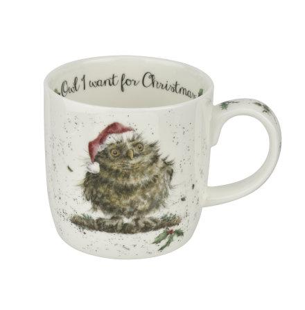 Wrendale Design Christmas Owl I want for Christmas (owl) mugg 0.31L