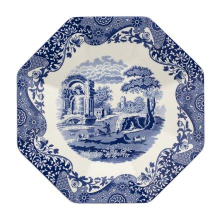 Blue Italian Serveringsfat Octagonal 35.5cm