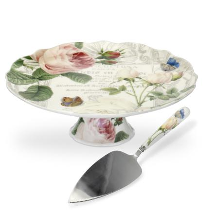 RHS Roses Cake Stand with Cake
