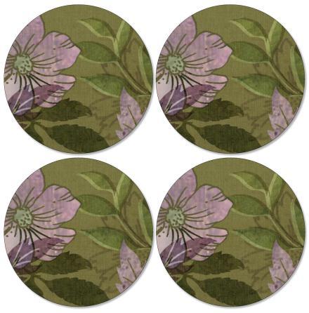 Autumn Green Runda glasunderlägg, 4-pack