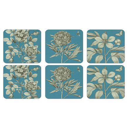 Etchings & Roses Blue Glasunderlägg 6-pack