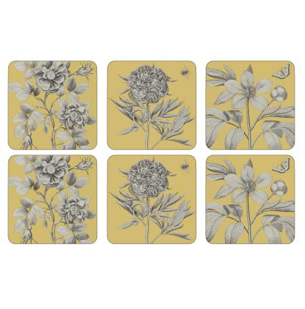 Etchings & Roses Yellow Glasunderlägg 6-pack