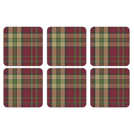 Tartan Red Glasunderlägg 6-pack