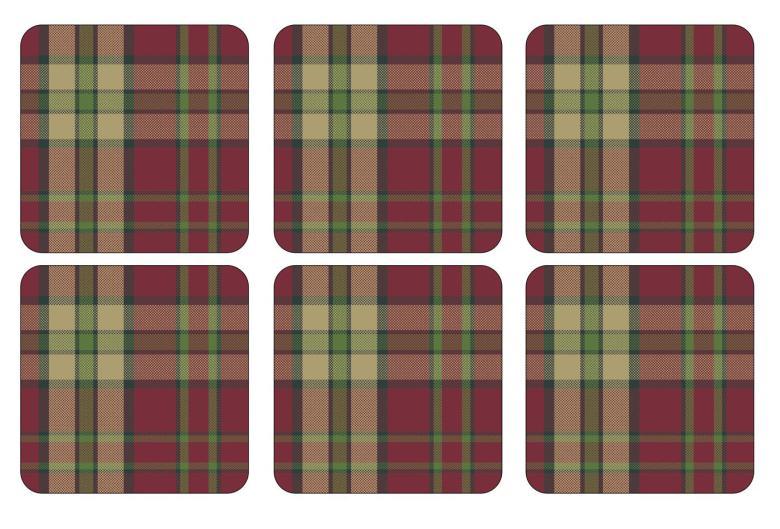 Tartan Red Glasunderlägg 6-pack